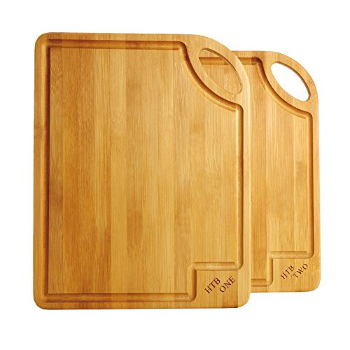 2 PCS Bamboo Cutting Board Set, Gift Box Chopping Board For Food Prep, Meat, Vegetables, Bread, Crackers & Cheese By HTB (Best Cutting Board For Cooked Meat)