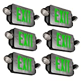 eTopLighting [6 Pack] LED Exit Sign, Emergency Light Green Lettering Combo with Extra Face Plate, UL924, Double Side Light, Ceiling / Wall Mount, AGG2162