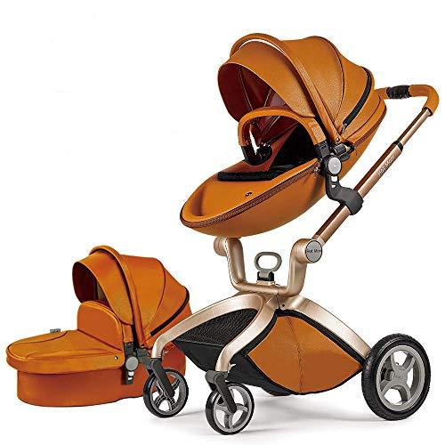 Cochecito de Bebe Hot Mom Cochecito y Sillas de paseo 3 en 1 con silla y el capazo, 2020 estilo de vida F22 asiento de carro extra comprable - Marron