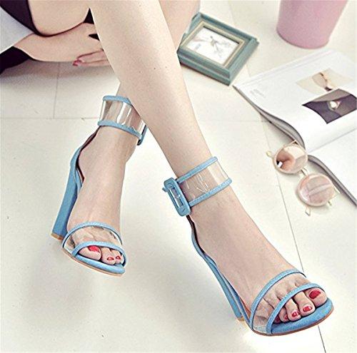 Talons Eté Sandales Chaussures Tendance À Hauts Femme Épais Bleu wqI5gg