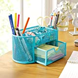 qi charging insert - Desk Organizer - 22 11 10 5cmnew Multifuction Stationery Desk Organizer 9 Cells Metal Mesh Desktop Office Pen Pencil - Drawers For Ehite Vega Tote Expandable Sections Bamboo Modern Marble
