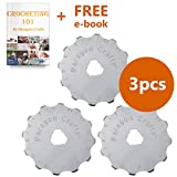 Heavy Duty 45mm Rotary Cutter Blade Replacement Set – Razor Sharp Blades For Crocheting, Quilting & Scrapbooking, Corrosion Resistant & Durable Design, Enhance Your Precision – 3-Pack & Plastic Case