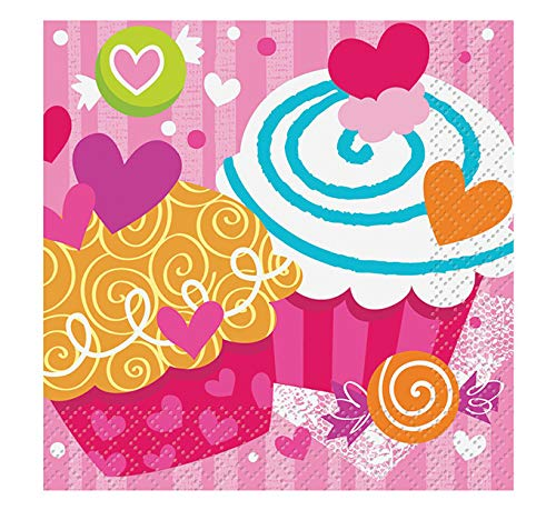 Cupcake Hearts Valentine's Day Beverage Napkins, 16ct