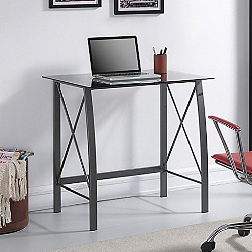 Bell'O Computer Desk in Silver, the grey tinted glass top provides a sturdy base for your desktop or laptop, the silver pMeasures 32