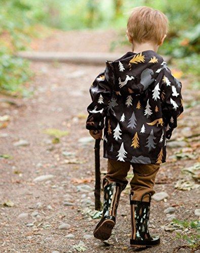 Oakiwear Kids Rubber Rain Boots With Easy-on Handles, Wildlife Tracker, 4Y US Big Kid - Image 6