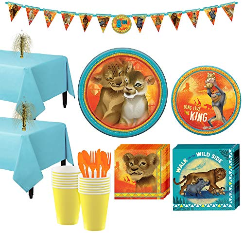 Party City Lion King Tableware Party Supplies for 16 Guests, 133 Pieces, Includes Plates, Napkins, Utensils, Banner]()