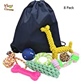 Cheap Dog toys 8 pack Set, Funny and variety Pet Toys for Small Dogs & Medium Dogs. For aggressive chewers, Indoor and outdoor dog toys -for Christmas -Food Dispensing Dog Toy.