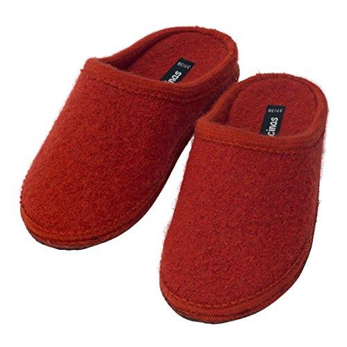 Warme Hausschuhe Damen - Filzpantoffeln aus Schafswolle flache Slipper Pantoffeln Größe 37 - 42 EU - Winterhausschuhe Terrakotta