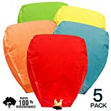 BATTIFE Sky Lanterns Chinese Biodegradable Paper Bulk Assortment Romantic Night Blue Red and Other Mixed Colors 5 Pack for Party Sea Beach Vacation Holiday (Colors)