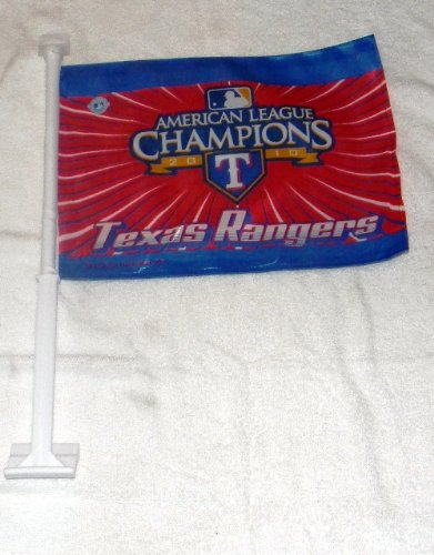- Rico Industries Officially Licensed Texas Rangers American LEAUGUE Champ CAR Flags - Great Collectible NOT Many Made !