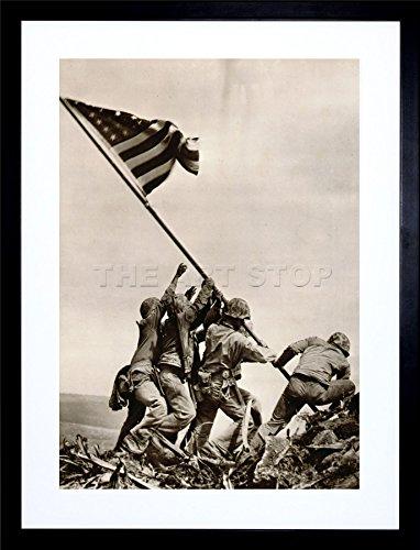 - 9x7 '' WAR WWII IWO JIMA Stars Stripes Flag Propaganda Framed Art Print F97X1916