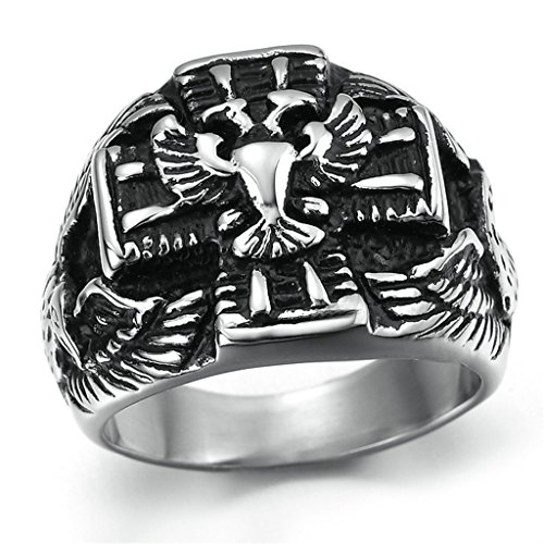 [Stainless Steel Ring for Men, Eagle Ring Gothic Black Band Silver Band 25*30MM Size 12 Epinki] (Boss Hog Costume)