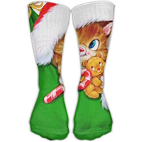 Women Athletic Warm Stockings Transparent Christmas Kitten with Candy Cane & Men Soccer Popular Cool Over The Knee Novelty Socks
