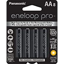 Panasonic BK-3HCCA8BA Eneloop Pro AA High Capacity Ni-MH Pre-Charged Rechargeable Batteries, 8-Pack