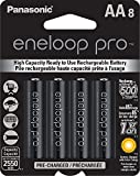 Panasonic BK-3HCCA8BA eneloop pro AA High Capacity Ni-MH Pre-Charged Rechargeable Batteries, 8 Pack