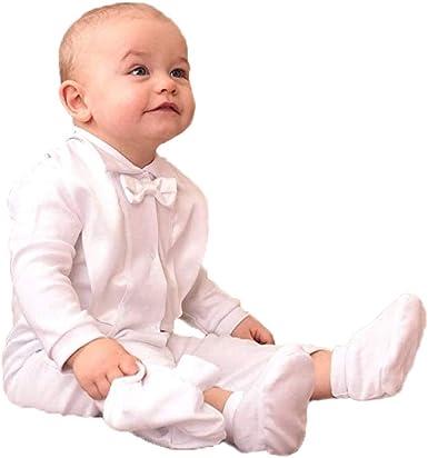 Baptism Christening Suit Outfit for Boys Infant Set Long Sleeves 3 Pcs 100/% Cotton