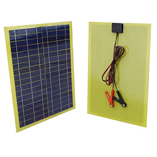 - ECO-WORTHY 20 Watts Epoxy Solar Panel with 2m Cable & 30A Clip for 12V Camping Battery Charger