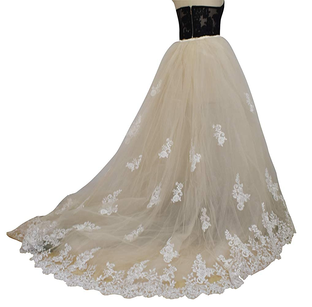 Champagn Lace flowerry Wedding Bridal Detahable Long Tutu Lace Train Wedding Train Tulle Overskirt Open Front Ivory White Champagne bluesh
