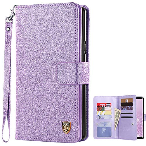 Galaxy Note 9 Case, BENTOBEN Samsung Note 9 Wallet Case, Shiny Bling Folio Flip PU Leather Credit Card Holder Cash Pockets Wristlet Protective Girls Women Case for Samsung Galaxy Note 9, Purple