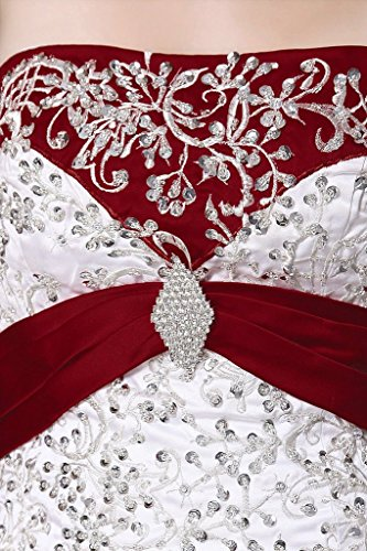 De Perles De Broderie Sans Bretelles De Femmes Dzdress Une Ligne Longue Robes De Robe De Mariée Rouge
