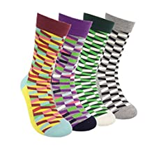 Colorful Patterned Womens Crew Socks - HSELL Novelty Cotton Dress Socks 4 Pack
