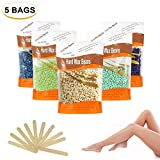 Hard Body Hair Removal Wax Beans - Crazysound Depilatory Wax for Men and Women Include 10 Waxing Spatulas. (100g x 5 Bags)