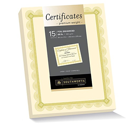 Southworth Premium Weight Certificates, Spiro Design, Gold Foil, 66 lb, Ivory, Pack of 15 (CTP2V)