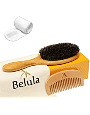 100% Boar Bristle Hairbrush Set. Soft Natural Bristles for Thin and Fine Hair. Restore Shine And Texture. Wooden Comb, Travel Bag and Spa Headband Included!