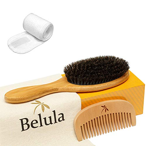 100% Boar Bristle Hair Brush Set. Soft Natural Bristles for Thin and Fine Hair. Restore Shine And Texture. Wooden Comb…