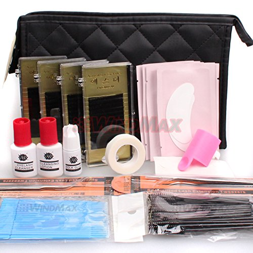 Ships From CA, USA WonderLash Starter Kit Pro Semi Permanent Individual Eyelash Extensions C Curl Eyelahes Lashes Graft Glue Tweezers Cleansing Lotion (A)