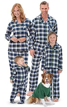 PajamaGram Tartan Plaid Matching Family Pajamas, Green, Women XSM (2-4)