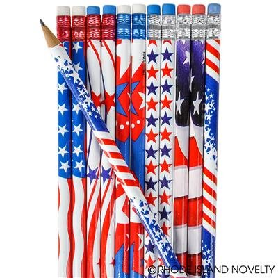 1 Gross (144) USA Patriotic PENCILS Various Design - 4th of July PARADES or PARTY FAVORS - US FLAG