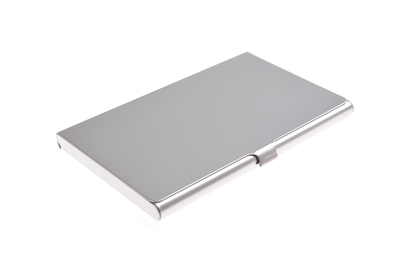 Portabiglietti da visita in acciaio inox di alta qualità, elegante, con superficie liscia e lucida, Mod. 302-01 (DE)