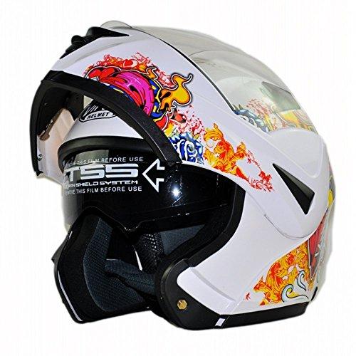 Multi-color Motorcycle Helmet Flip up Dual Visor Full Face with sunshield DOT Certified(M,L,XL) (Skull White, XL)