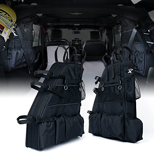 Xprite Rear Roll Bar Storage Bags for 2007-2018 Jeep Wrangler JKU 4 Door (Rear Roll Bar)