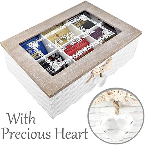 25DOL - Tea Box to Organize, Store and Display your Favorite Tea/Coffee bags in 6 Racks - Fully Hand-Made with Wood - Hand-Painted in White - Crystal Heart at the ()