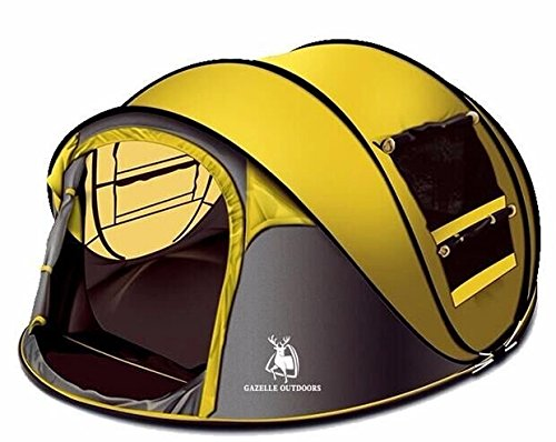 STAR HOME Camping Zelt Pop up Zelt 3-4 Personen (Gelb)