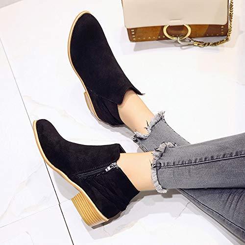 Moto Chaussures Flock Ladies Fashion Femme Boots Bootie Botte Et Ankle Solid Tricoté Noir Bottines Weant Bottes fxzvwWSqdv