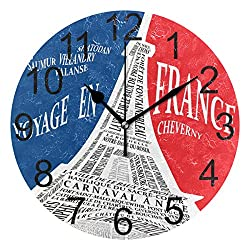 Wamika Vintage 3D Paris Eiffel Tower Round Wall Clock Battery Operated Quartz Analog Fashion Style Clock Non Ticking Silent Acrylic Clocks for Home School Office