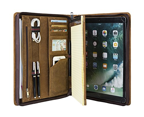 [Custom Engraved] Hifriend Personalized Padfolio/Crazy-Horse Leather Professional Business Organizer/Portfolio with Letter/A4 Sized Notepad Holder (Custom Engraved, ()