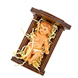 Infant Jesus Christ in Crib   Walnut Wood and Resin