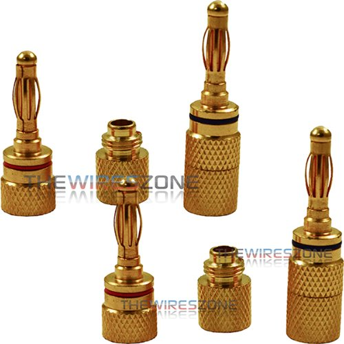 24K Gold Plated Audio Banana Plug Audio Speaker Wire Jack Connector (4/Pack)