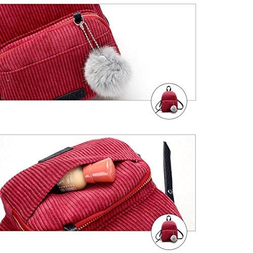 Dabixx Rosa Rosa para Mochila Niñas Rojo 8 Terciopelo 33 26x7 21x19x11cm Color de Terciopelo Pequeña 48x4 rrZqzS