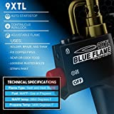 BLUE FLAME 9XTL - Multi Purpose Mapp & Propane Torch | Includes 3 - Nozzles/Tips | Built-In Ignition | Flow Regulator & Flame Lock