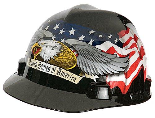 MSA 10079479 V-Gard Hard Hat Front Brim with Ratchet Suspension, Standard, American Eagle by MSA (Image #1)