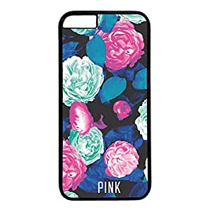 Hard Back Cover Case for iphone 6 Plus,Cool Fashion Black PC Shell Skin for iphone 6 Plus with Blue Floral PINK