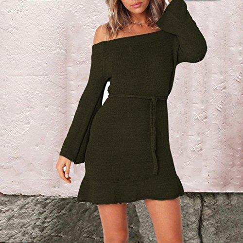 Vestito Fashion Donne 2018new Fasciatura Green Lunga Maglia Canotta Autunno Quadrato Mini Collare Vestito Manica Dalla qBrq6gv