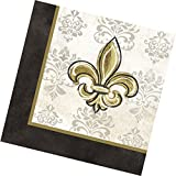 "Custom Made & Disposable {6.5"" Inch} 20 Count of 3 Ply Mid-Size Size Square Food & Beverage Napkins, Made of Soft Absorbent Paper w/ Antique Painted Fleur De Lis Party Style {Yellow, Black, & White}"