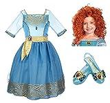 Disney Pixar Brave Merida Costume Set - Dress, Wig, and Shoes