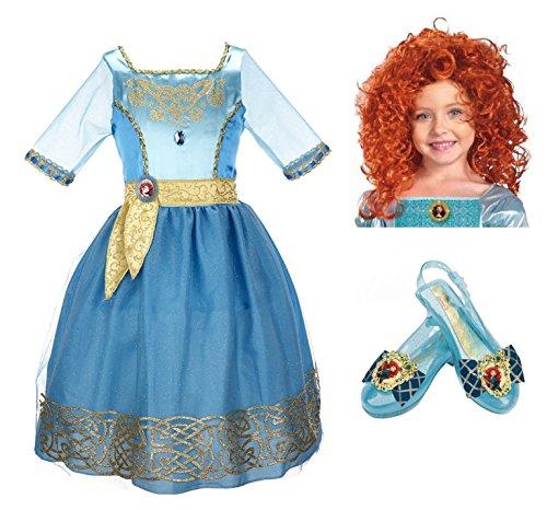 Disney Pixar Brave Merida Costume Set - Dress, Wig, and Shoes -